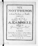 Six Notturnos à deux violons et basse... Oeuvre VII. Gravés par Mme Sieber