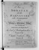 Six sonatas for the harpsichord with accompanyments for a violon of german flute and violoncello... opera II