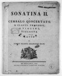 Sonatina II a cembalo concertato, II flauti traversi, II violini, violetta e basso... [en fa maj.]. [Wq 107]