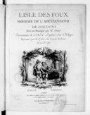 L'Isle des foux, parodie de l'Arcifanfano de Goldoni, Mise en musique par Mr Duny... représenté pour la 1re fois à la Comédie italienne le 20 décembre 1760