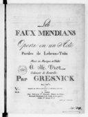 Les Faux mendiants, opéra en un acte. Paroles de Lebrun-Tossa...