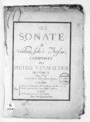 Sei Sonate a violino solo e basso... Oeuvre V. Gravées par L. Leclair, femme Quenet