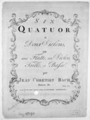 Six quatuors a deux violons ou une flutte, un violon, taille et basse... Oeuvre IX