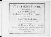 Neufième livre contenant deux sonates à deux flûtes traversières sans basse...
