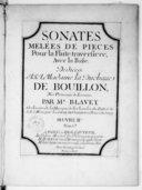 Sonates melées de pièces pour la flûte traversière avec la basse.... Gravées par Dumont. Oeuvre II