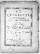 Six Quartetto concertante a deux violons, alto et basse... Oeuvre IIe. Mis au jour par M. Sieber.... Gravés par Mme Sieber