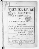 Premier livre de sonates à violon seul avec la basse-continue...