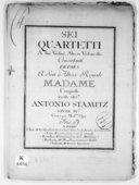 Sei Quartetti a due violini, alto et violoncello concertanti... Livre IVe. Gravé par Mme Oger
