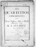 Six Quartettos concertants pour deux violons, alto et basse... Oeuvre XXVIII.... Gravé par Melle Michaud