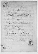 III Trios concertantes pour violon, viole et violoncelle.... [B 4012]