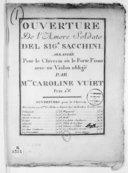Ouverture de l'Amore soldato..., arrangée pour le clavecin ou le forte-piano avec un violon obligé par Melle Caroline Vuiet...