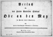 Versuch über des Herrn Professor Clodius Ode an den May, in Form einer Cantate...