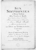 Six simphonies a deux violons, alto et basse, deux hautbois et deux cors de chasse... Oeuvre troisième