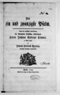 Der ein und zwanzigste Psalm nach der poetischen Uebersetzung des Königlichen Dänischen Hofpredigers Herrn Johann Andreas Cramer...
