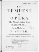 The Tempest, an opera, the words taken from Shakespear etc...