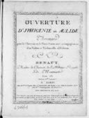 """Ouverture """"d'Iphigénie en Aulide"""", arrangée pour le clavecin ou le piano forte avec accompagnement d'un violon et violoncelle ad libitum par Benaut. Gravés par Mlle Laurencin"""