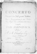 Concerto favori en sol pour violon avec accompagnement de deux violons, alto, basse, cors et hautbois ad libitum.... Gravé par Michot...