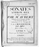 Sonates à violon seul et basse-continue... Livre V. Gravées par De Gland...