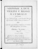 Sinfonie a due violini e basso o cembalo... opera setima...