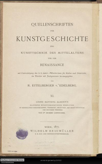Leone Batista Alberti's kleinere kunsttheoretische Schriften
