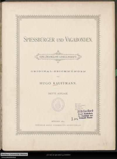 Spiessbürger und Vagabunden: eine zwanglose Gesellschaft ; Original-Zeichungen