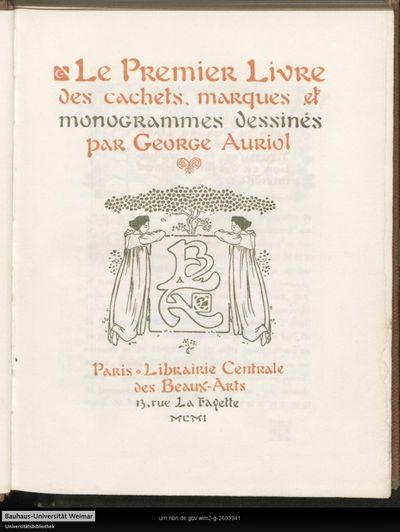 Le ... livre de cachets, marques et monogrammes dessinés; 1