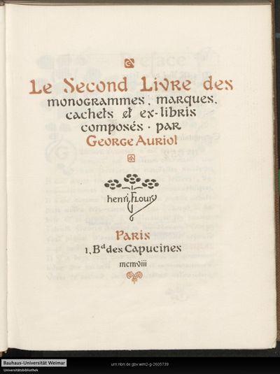 Le ... livre de cachets, marques et monogrammes dessinés; 2
