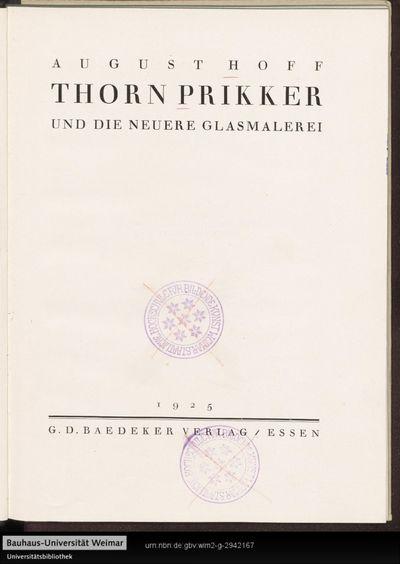 Thorn Prikker und die neuere Glasmalerei