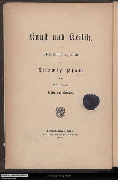 Maler und Gemälde: artistische Studien; Bd. 1