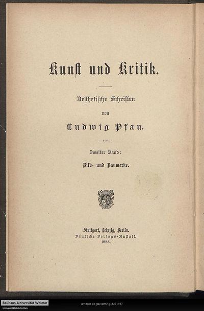 Bild und Bauwerke: ästhetische Schriften; Bd. 2