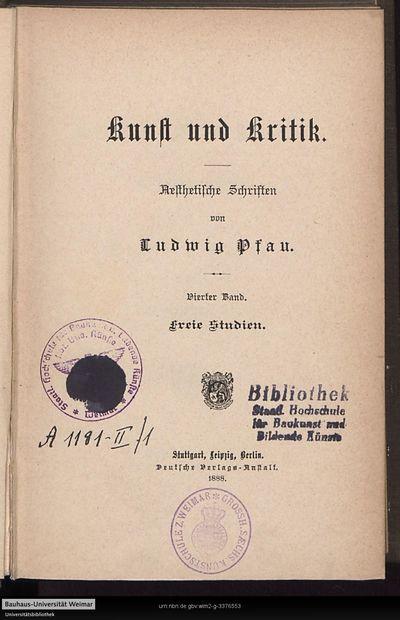 Freie Studien: die Kunst im Staat; Bd. 4