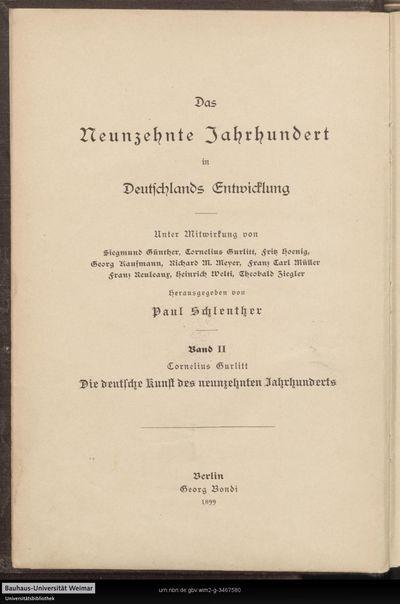 Die deutsche Kunst des neunzehnten Jahrhunderts: ihre Ziele und Thaten; Bd. 2
