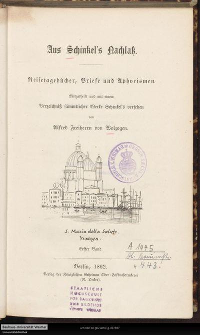 Aus Schinkel's Nachlaß: Reisetagebücher, Briefe und Aphorismen; Bd. 1