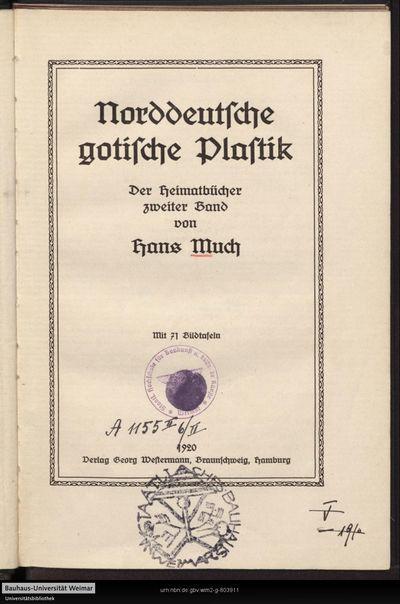 Norddeutsche gotische Plastik: der Heimatbücher zweiter Band