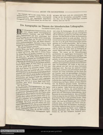 Die Autographie im Dienste der künstlerischen Lithographie.