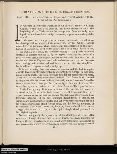 Decoration and its uses: Chapter III. The development of types , and formal writing with the broad-nibbed pen (continued).