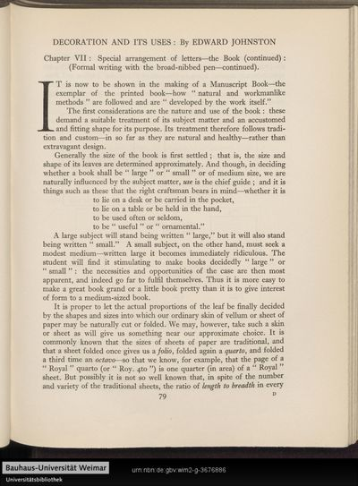 Decoration and its uses: Chapter VII: special arrangement of letters - the book (continued): (Formal writing with the broad-nibbed pen-continued).