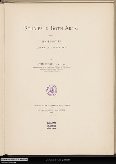 Studies in both arts: beeing ten subjects, drawn and described