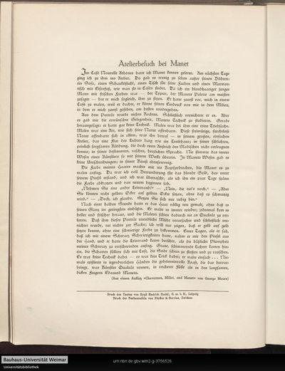 """Atelierbesuch bei Manet (Aus einem Aufsatz """"Chavannes, Millet and Manet"""")"""