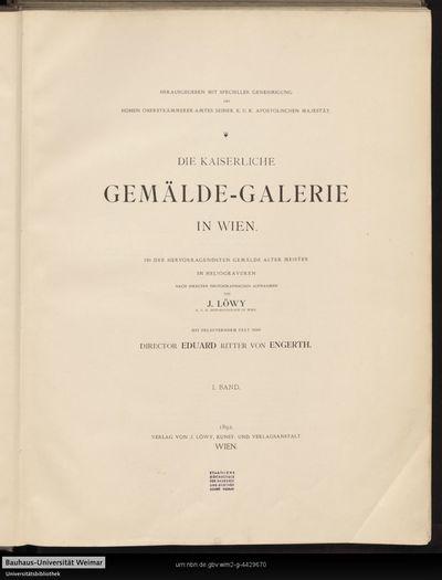 Die Kaiserliche Gemälde-Galerie in Wien; Bd. 1