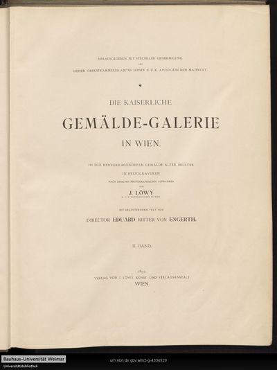 Die Kaiserliche Gemälde-Galerie in Wien; Bd. 2