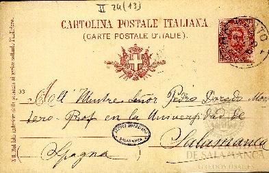 Tarjeta Postal de G. d´Aguanno a Pedro Dorado Montero