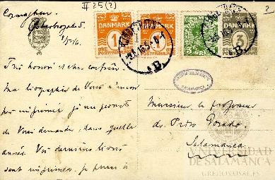 Tarjeta Postal de Frank Dahl a Pedro Dorado Montero