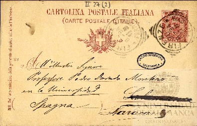 Tarjeta Postal de Riccardo Dalla Volta a Pedro Dorado Montero