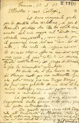 Tarjeta Postal de Giorgio del Vecchio a Pedro Dorado Montero