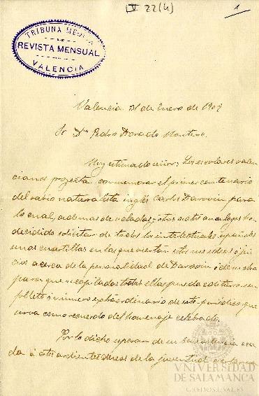 Carta de Francisco Luque a Pedro Dorado Montero