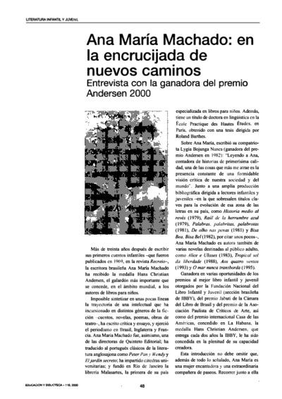 Ana María Machado: en la encrucijada de nuevos caminos