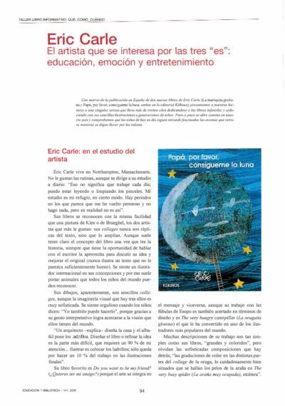 """Eric Carle. El artista que se interesa por las tres """"es"""": educación, emoción y entretenimiento"""