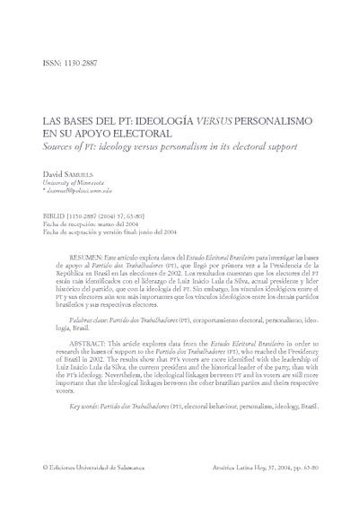 Las bases del PT: ideología versus personalismo en su apoyo electoral; Sources of PT: ideology versus personalism in its electoral support