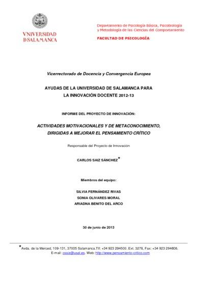 Informe Final 2012 13 Programa De Instrucción Motivacional